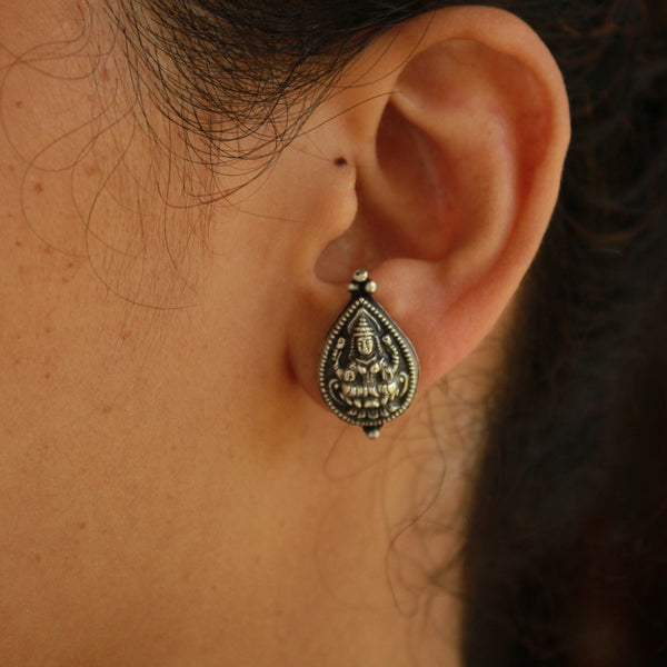 Delicate Handcrafted Oxidised Laxmi  Silver Stud