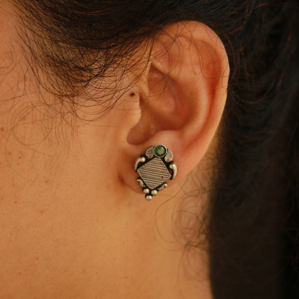 Diamond Shape Handcrafted Oxidised Silver Earring