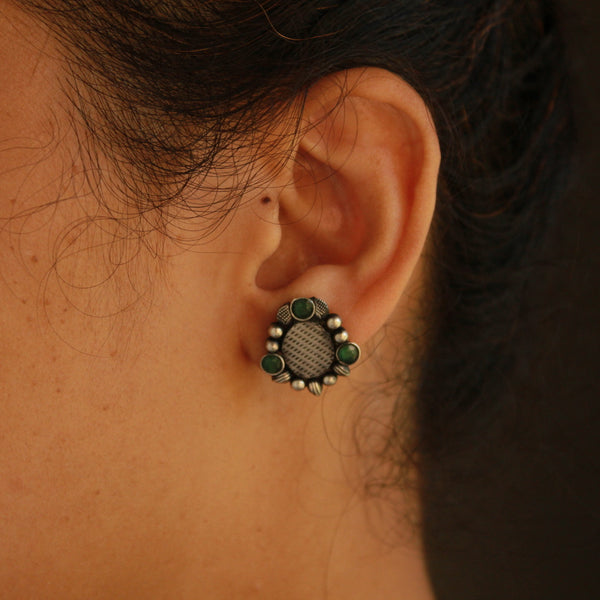 Oval Shape Handcrafted Oxidised Earring