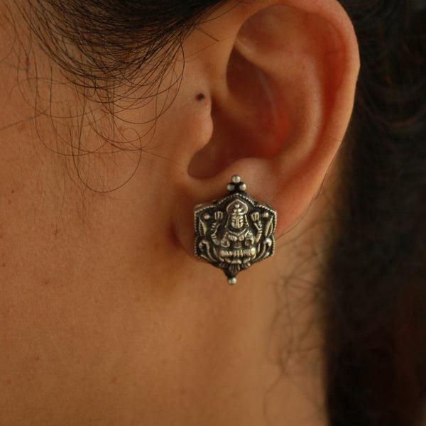 Handcrafted Oxidised Laxmi Earring