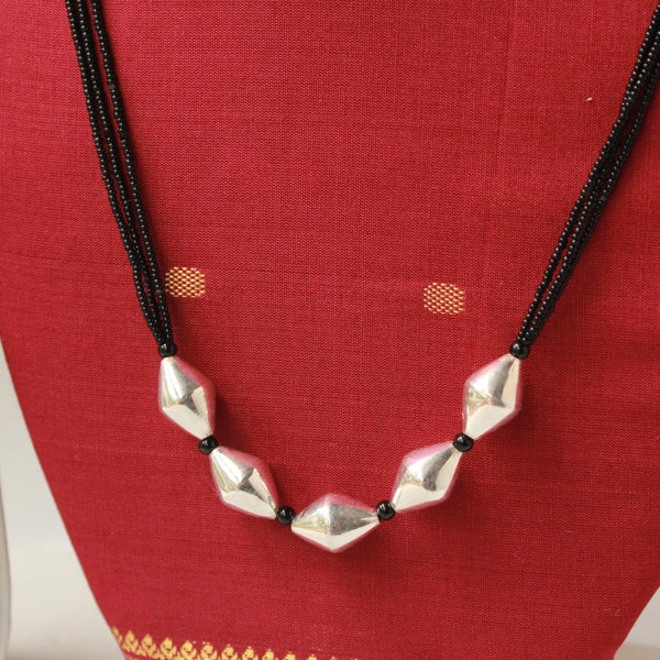 Silver Handcrafted Bhoar Beads Long Mangalsutra