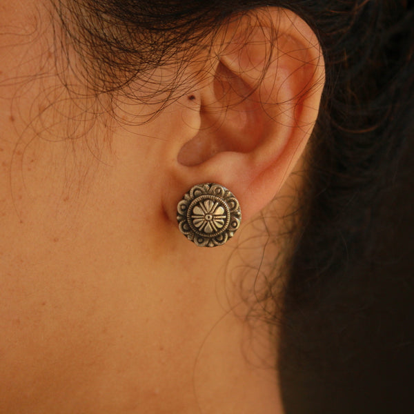 Round Shape Handcrafted Oxidised Silver Earring