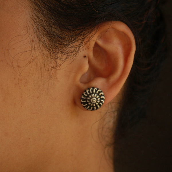 Round Handcrafted Oxidised Silver Stud