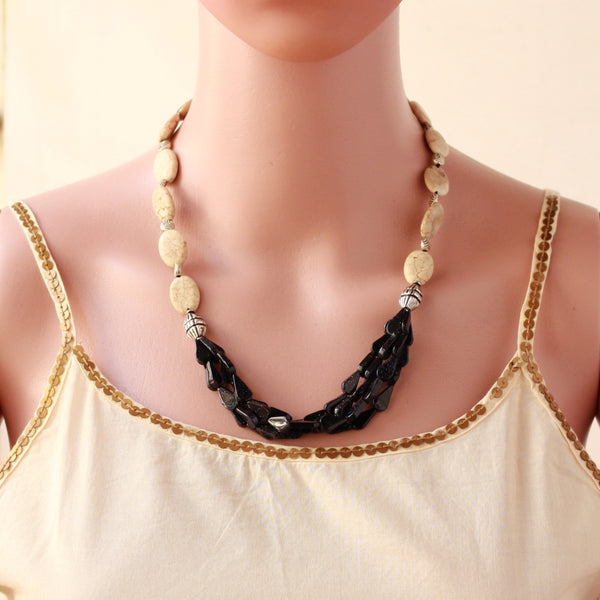 Black Rajwarkhi And Quartz Stone Necklace