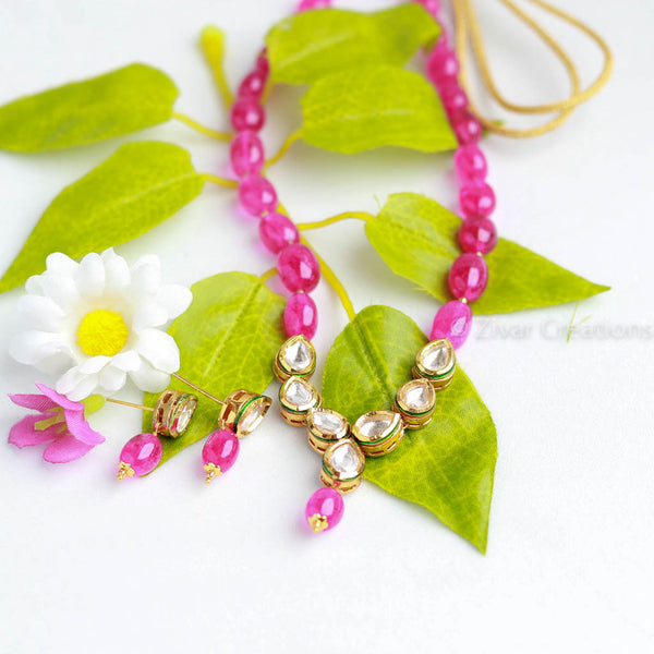 Delicate Kundan Pink Beads Necklace