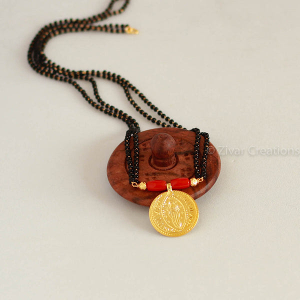 Real Coral Pendant Mangalsutra
