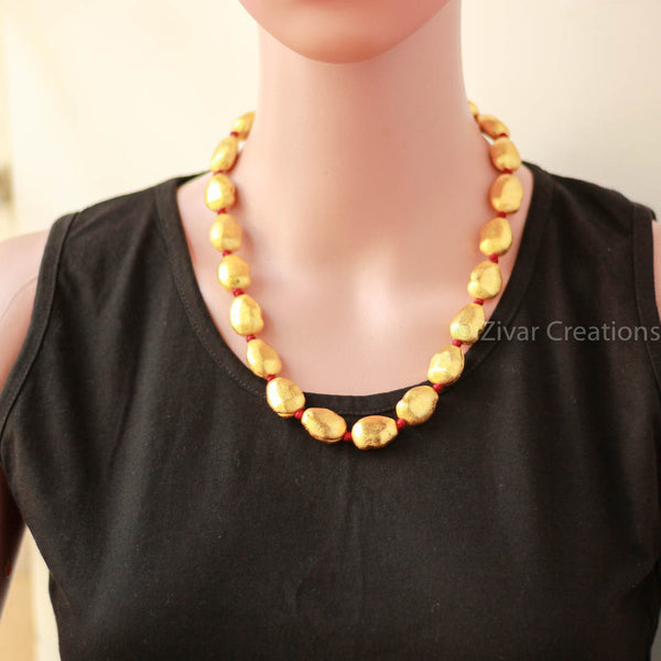 Red Threadwork Gold Polish beads necklace