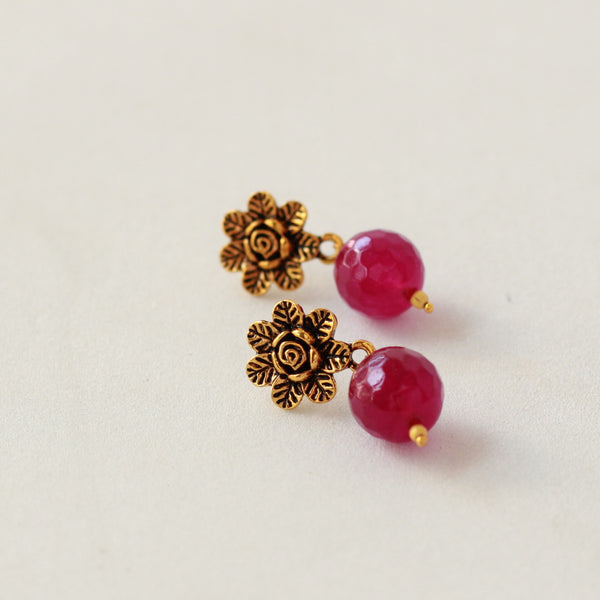 Red Bead Flower Earring