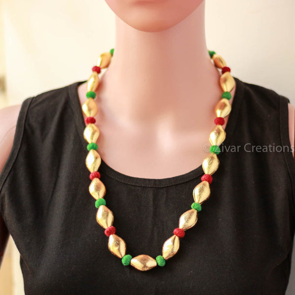 Red and Green Large Gold polish beads necklace