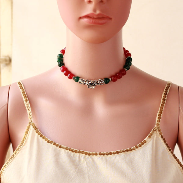 Handcrafted Red And Green German Silver Necklace