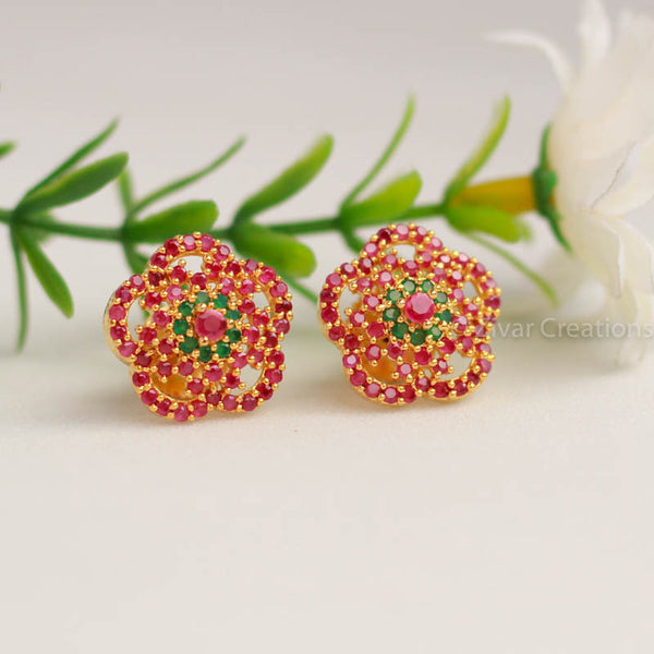 Red Green Stud Earring