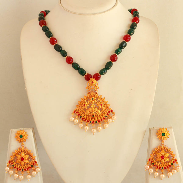 Temple Set With Red Green Beads