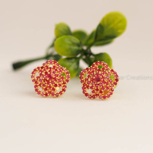 Red Stones Stud Earring