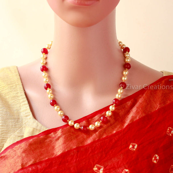 Handcrafted Red Stones Pearl Necklace