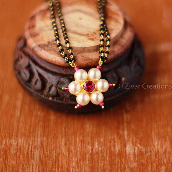Red Stone Pearl Kudi Handcrafted Mangalsutra