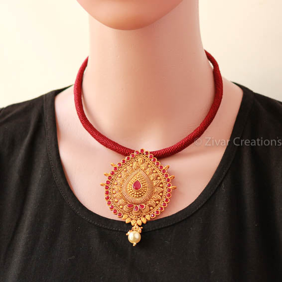 Temple Pendant Handcrafted Thread Necklace