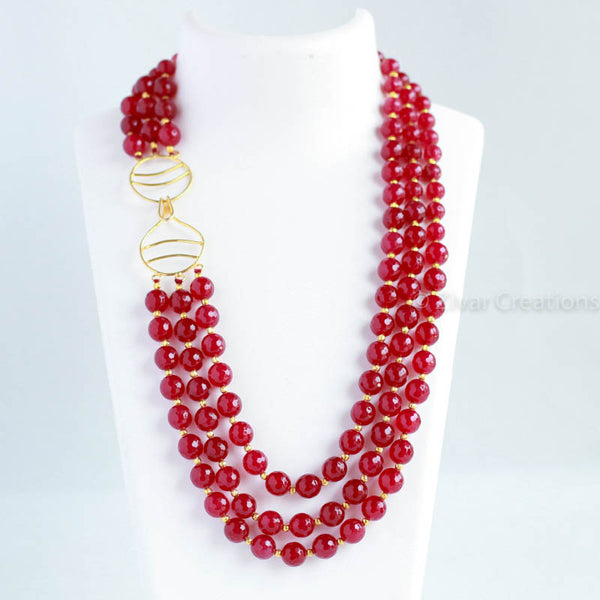 Red Cutting Beads Royal Necklace