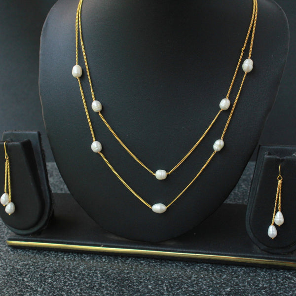 Delicate Rice Pearl Chain Necklace