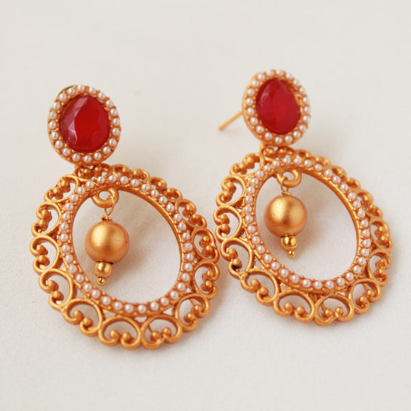 Oval Shape Temple Earring