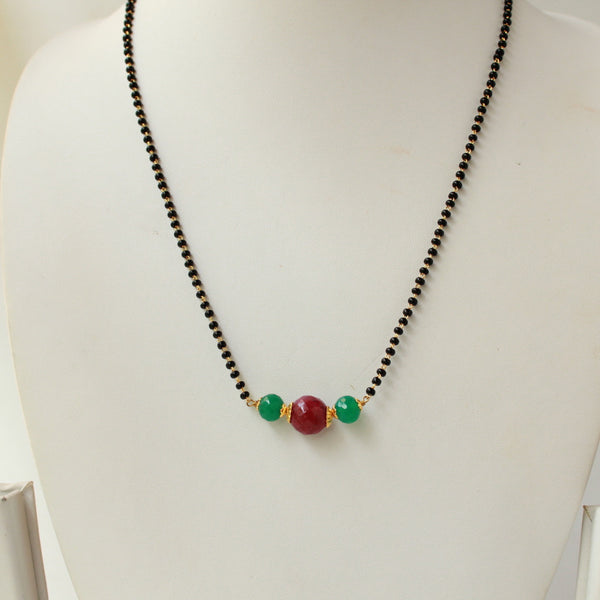 Real Ruby Onyx Mangalsutra