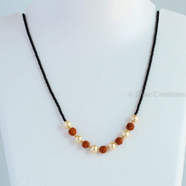 Rudraksh And Pearl Mangalsutra