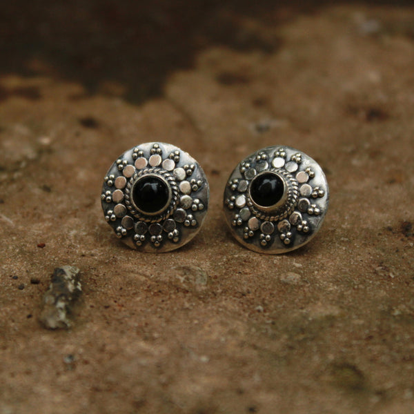 Pure Silver With Black Stone Studded Earring