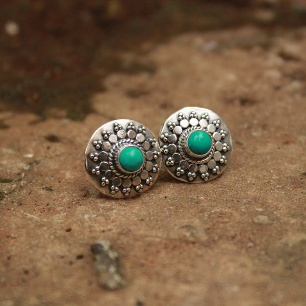 Turquoise Handcrafted Pure Silver Stud