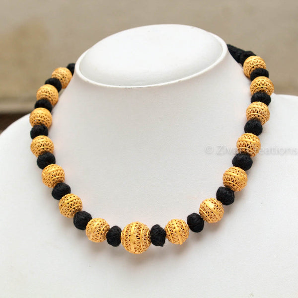Handcrafted Small Beads Black Thread Necklace