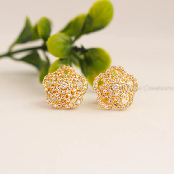 White Stone Flower Earring