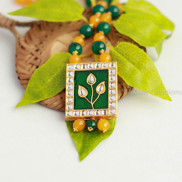 Yellow And Green Beads with Kundan Necklace