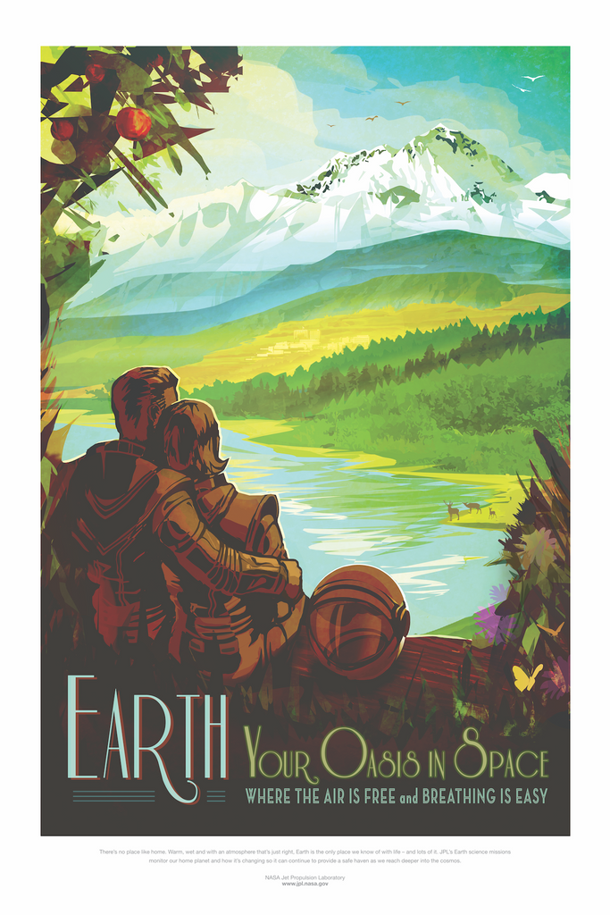 Vintage Space Art Poster - Earth - Traverse Space