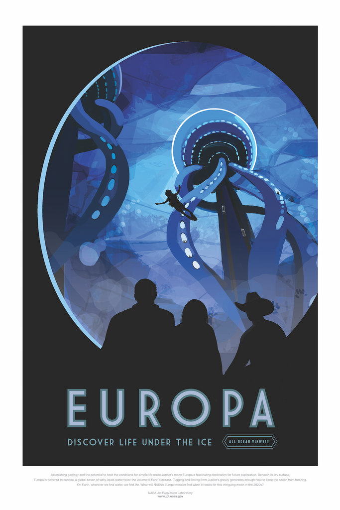 Vintage Space Art Poster - Europa - Traverse Space