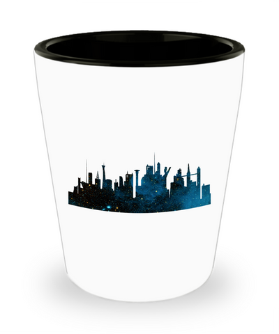 Futuristic City Skyline Space Drinking Party Shot Glass