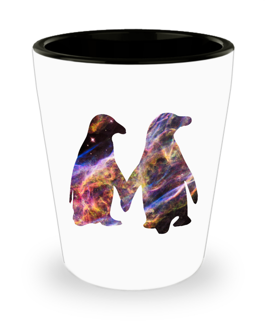 Space Penguin Cute Couple Drinking Shot Glass