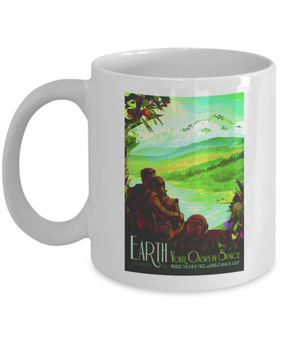 Earth Your Oasis In Space Vintage Mug