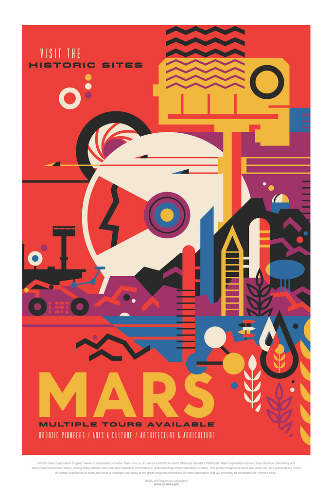 Vintage Space Art Poster - Mars - Traverse Space