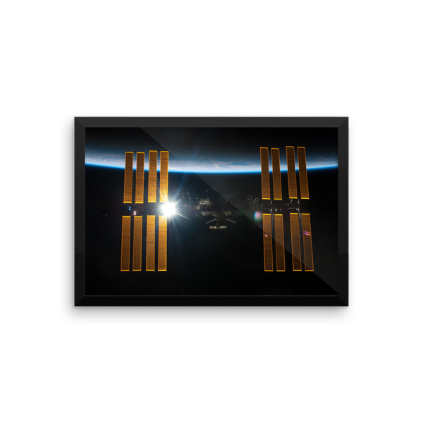Space Art Framed Poster - ISS Over Earth - Traverse Space
