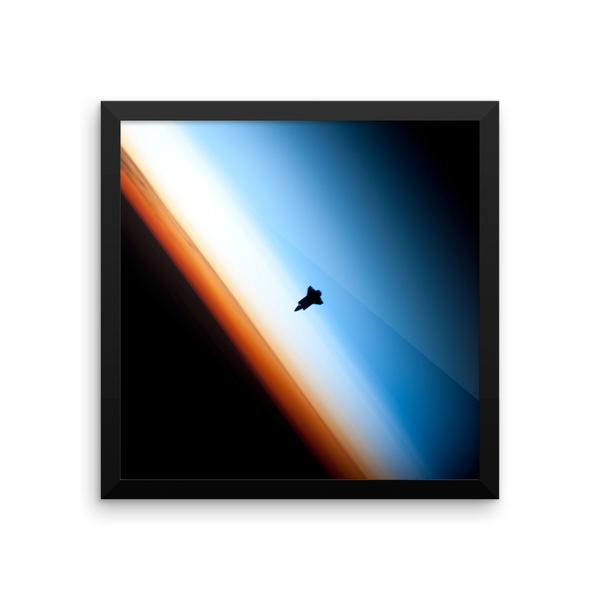 Space Art Framed Poster - Shuttle on the Horizon - Traverse Space