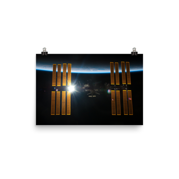 Space Art Poster - ISS Over Earth - Traverse Space