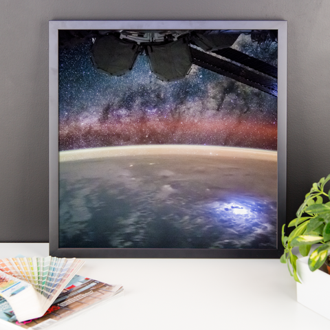 Space Art Framed Poster - ISS Stares Into The Abyss - Traverse Space