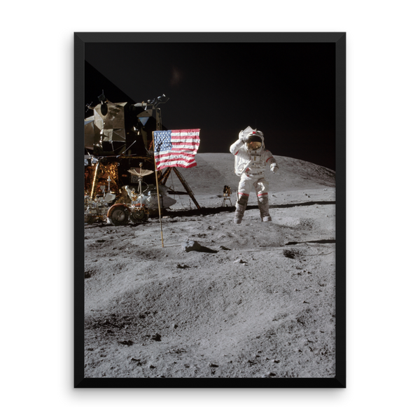 Space Art Framed Poster - Lunar Salute - Traverse Space