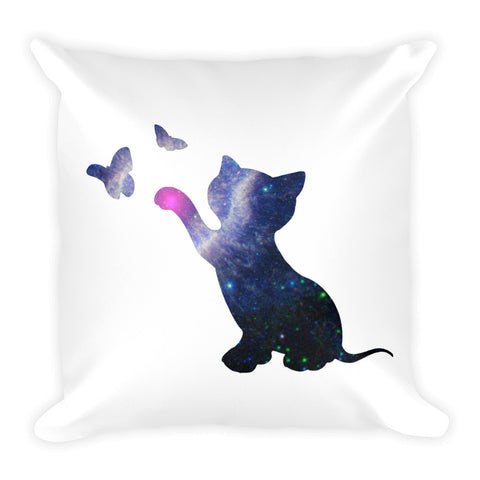 Space Pillow Square - Cat Catching Butterflies