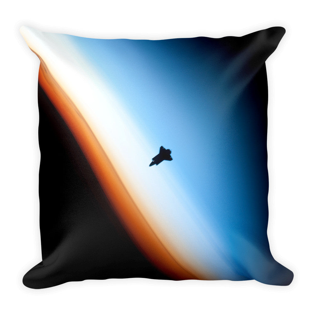 Space Pillow Square - Shuttle on the Horizon - Traverse Space