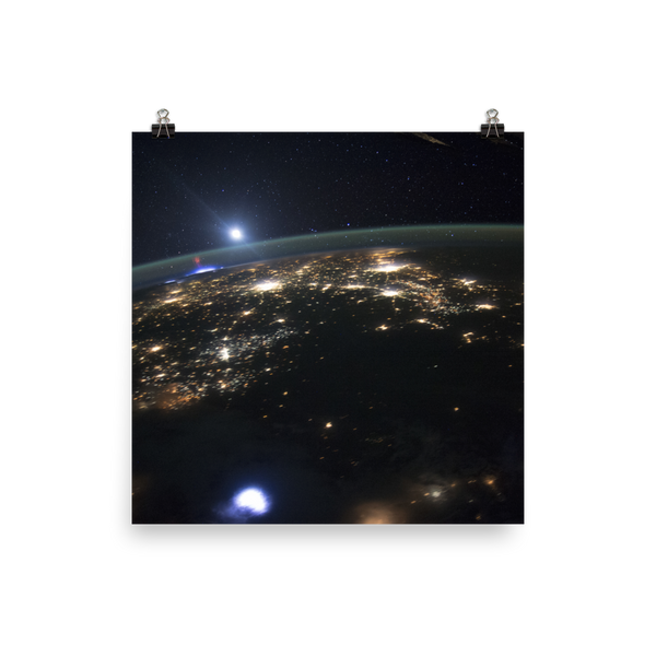 Space Art Poster - ISS Captures Red Sprites Above Central US - Traverse Space
