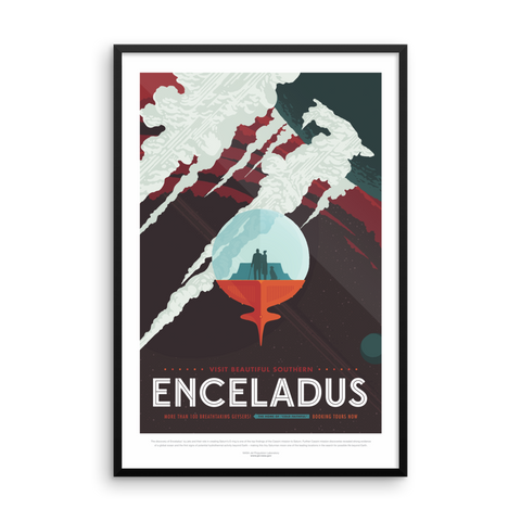 Vintage Space Art Framed Poster - Enceladus - Traverse Space