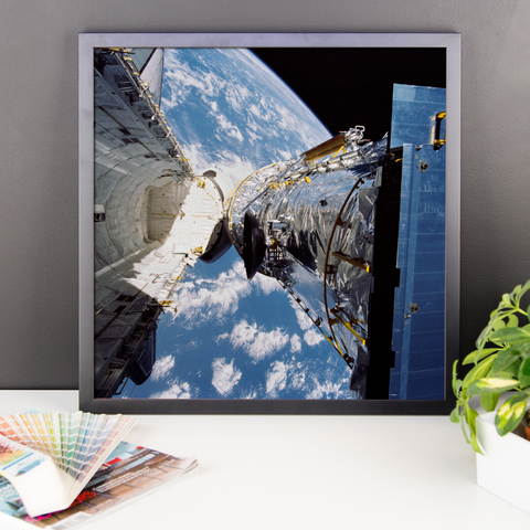 Space Art Framed Poster - Hubble Space Telescope Deployment - Traverse Space