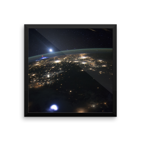 Space Art Framed Poster - ISS Captures Red Sprites Above Central US - Traverse Space
