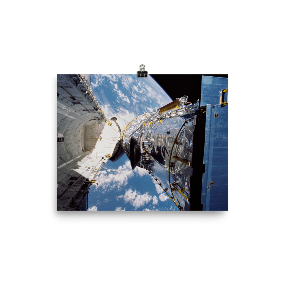 Space Art Poster - Hubble Space Telescope Deployment - Traverse Space