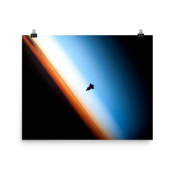 Space Art Poster - Shuttle on the Horizon - Traverse Space