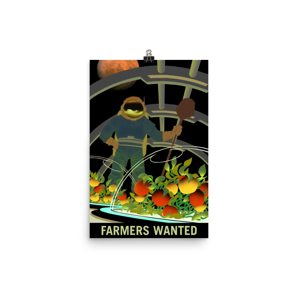 Vintage Space Art Poster - Mars Farmers Wanted